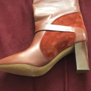 Chloe Shoes - Chloé Rust Brown Suede-paneled Leather Knee Boots